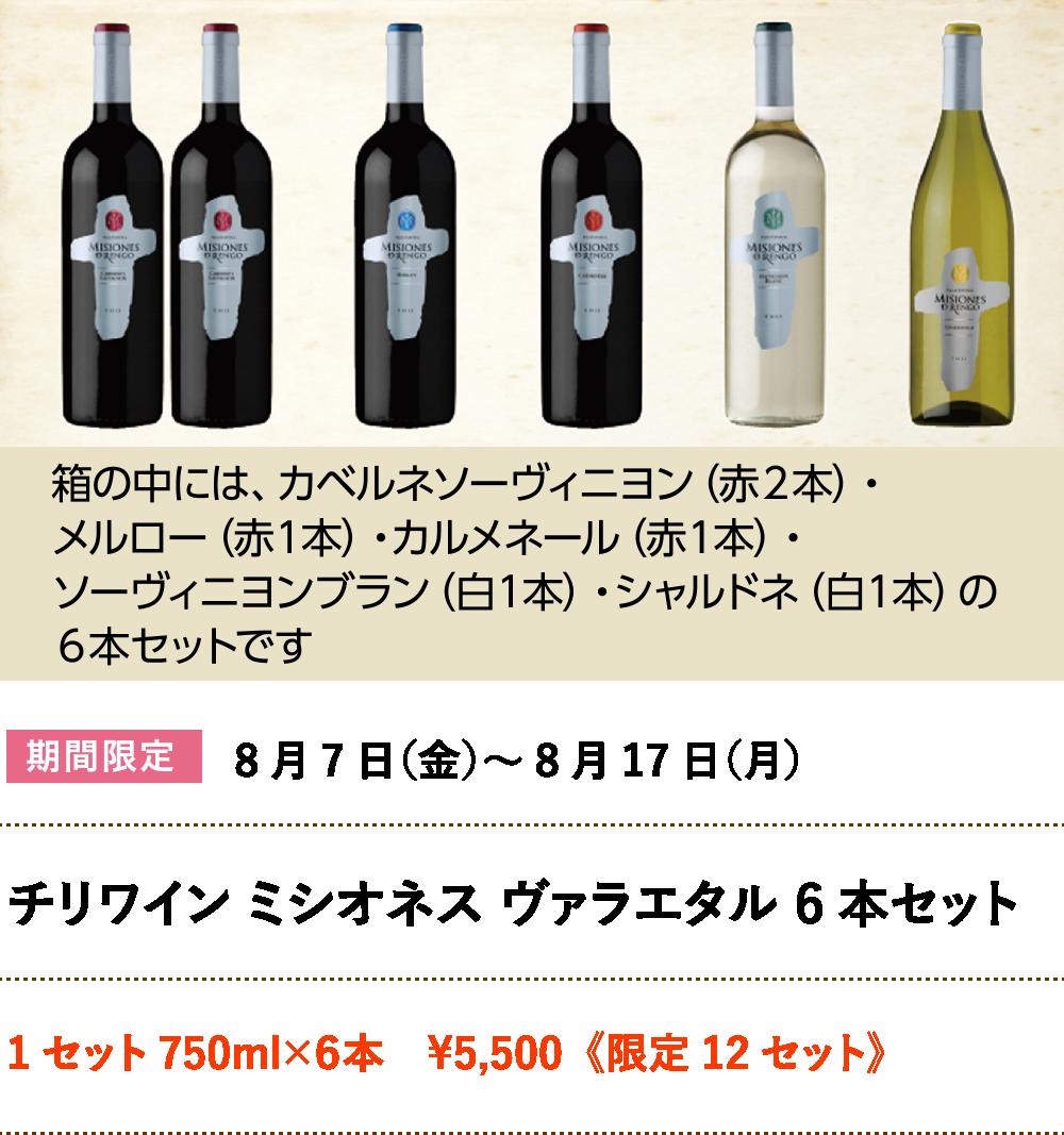 チリワイン ミシオネス ヴァラエタル 6本セット